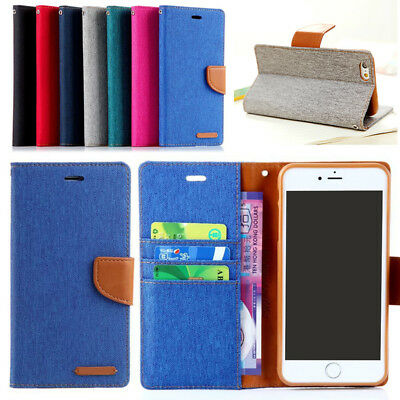 Demin Flip Leather Wallet Card Stand Case For Apple iPhone 5S SE 6S 7Plus lot QR