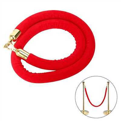 RED 59 Inch Velvet Rope Crowd Control Stanchion Post Queue Line Barrier MFD