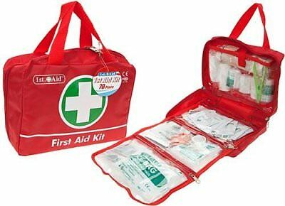 Jumbo Deluxe Medical First Aid Kit 70 Piece Complete Red 1st Aid Box in Nylon -