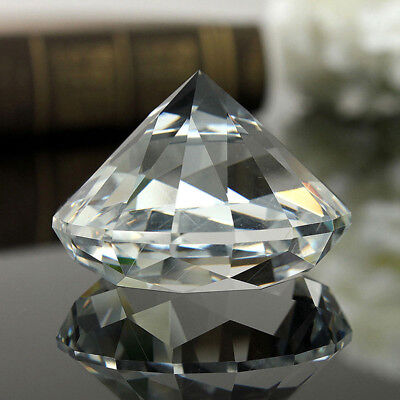Crystal Clear Paperweight Faceted Cut Glass Giant Diamond Jewelry Decor 40mm