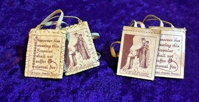 """Vintage Religious Cloth """"Our Lady's Scapular Promise"""" - Lot of 2 ~ 22"""" & 24"""""""