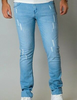 Mens Casual SLIM SKINNY FIT Stretch Trousers Distressed Ripped Denim Pants JEANS