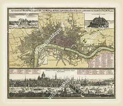 antique historical Georgian map plan guide London by J. Homann 1730 XL poster