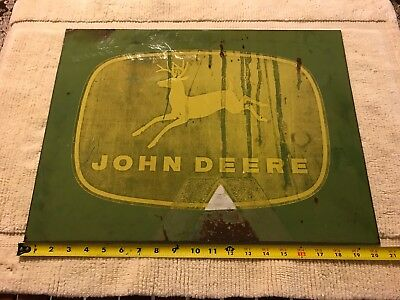 "vintage JOHN DEERE logo metal sign 21"" x 15"" four legged deer Logo  Heavy !!"