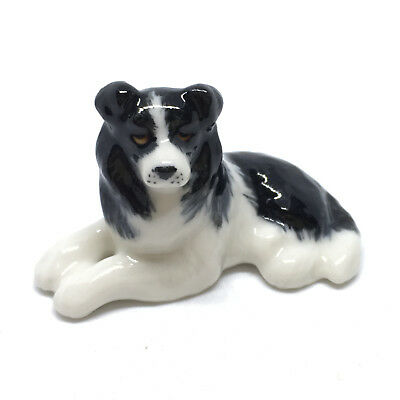 Tiny Miniatures Collectible Ceramic Border Collie Dog Breed FIGURINE