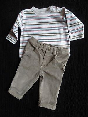 Baby clothes BOY 3-6m outfit M&S LS top soft white,grey,red/grey corded trousers
