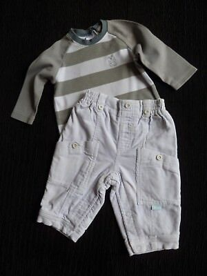 Baby clothes BOY 3-6m outfit NEXT LS top greys stripe/silver-grey corded trouser