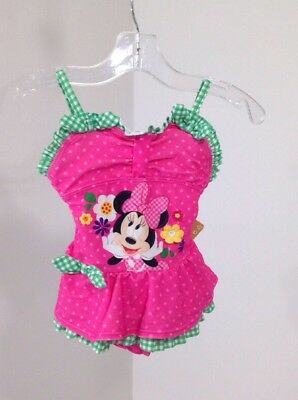 Disney Toddler Girls Minnie Mouse Ruffled Polka Dot One Piece Pink Size 2 Nwt