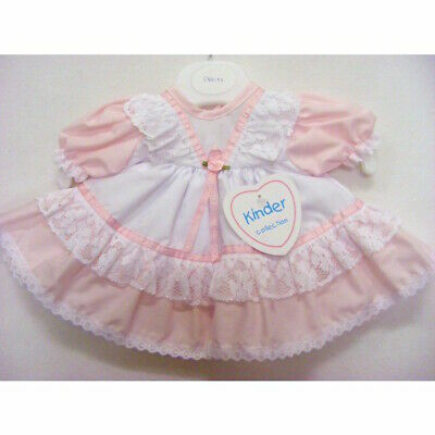 Premature Baby Girls Traditional Pink/White Ribbon Lace Frilly Dress