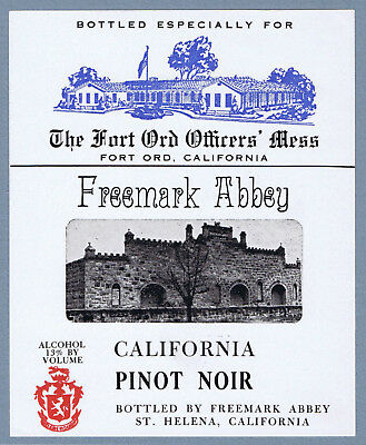 unused FREEMARK ABBEY - U.S. Military - Fort Ord Officer's Mess, Wine label 2345