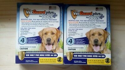 NEW VetGuard Plus for Dogs 66 lbs or Over Flea Tick Mosquito 8 months / X-LARGE