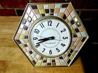 Vintage  General Electric GE Wall DESK W STAND Clock  Mosaic Mid Century Modern