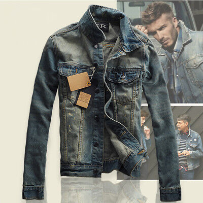 Men's Slim Fit Classic Retro Thicken Coat Jean Denim Jacket Outerwear