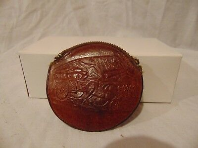 """vintage leather Costa Rica coin purse w/ ox and wagon design on it 3 3/4"""" round"""