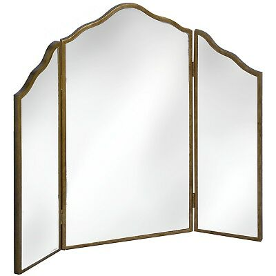 NEW Art Deco Style Antique Gold 3 Part Dressing Table Mirror Stained Fir Wood