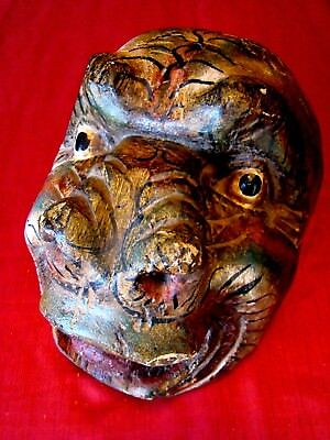 Circa 1930s - Hand Carved Painted - Wood Wooden - Gorilla Mask - Amazing Details