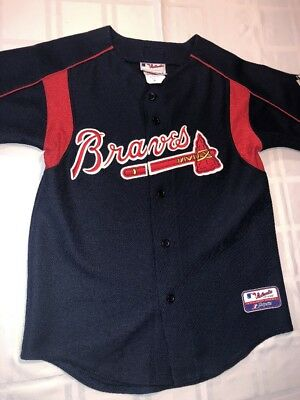 size 40 5bbbe 0e663 Atlanta Braves Majestic Youth Jersey Stitched Emblem Size M Made In USA  Free S+H