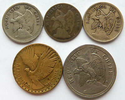 "Chile 1909 - 1965 20 Centavos, 1 Peso & 10 Centesimos Coins ""Lot of 5""   SB5500"