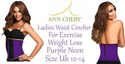 Latex Waist Cincher Ann Chery For Exercise Weight Loss Purple Size Uk12/14 New