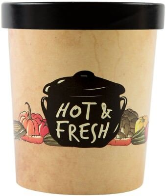 32oz. Paper Soup Hot Food Cup Vented Paper Lid Double Poly-Coated, 250/Case