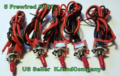 5x SPST Maintained On Off Mini Toggle Switch Prewired US Seller & Shipper