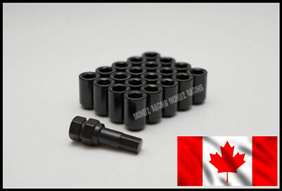 20pc Lug Nuts 12x1.5 Open-end Cone Seat, Black