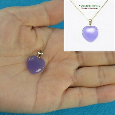 14k Solid Yellow Gold Hand Crafted Heart & Love 15mm Lavender Jade Pendant TPJ
