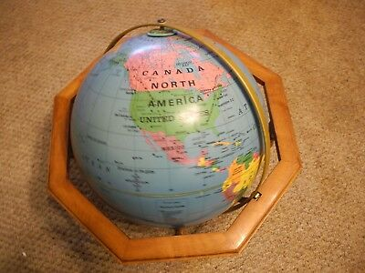 "XL 16"" World Globe with wood stand"