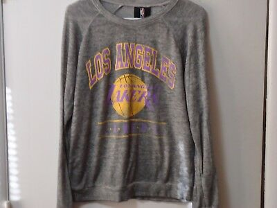 Nba Los Angeles Lakers Burnout Graphic Womens Long Sleeve Shirt Sz S Distressed
