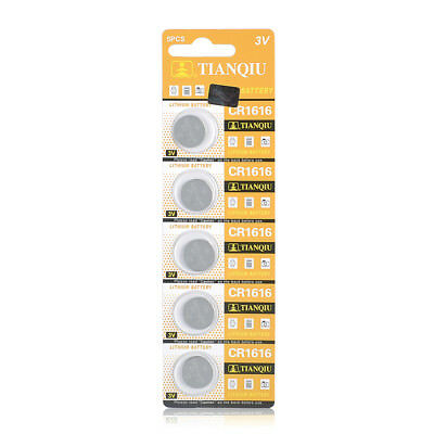 5 Pack CR1616 3V Coin Button Batteries Car Key Alarm Garage Remote Calculator