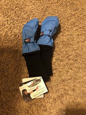 SnowStoppers Extra-Long Cuff Nylon Mittens for Kids - Large, Blue