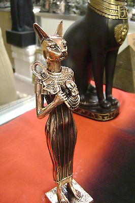 Goddess  Bast  Statue  W/copper Wash Made In Egypt