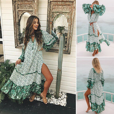 Summer Womens Floral Boho Long Dress Evening Party V Neck Maxi Dress Plus Size