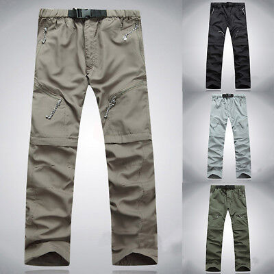 For Mens Quick Dry Convertible Zip Off Pants Fishing Hiking Cargo Trousers EI