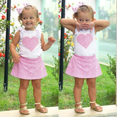 Toddler Kids Baby Girls Outfits Clothes T-shirt Tops+ Dress Skirt 2PCS Sets AU