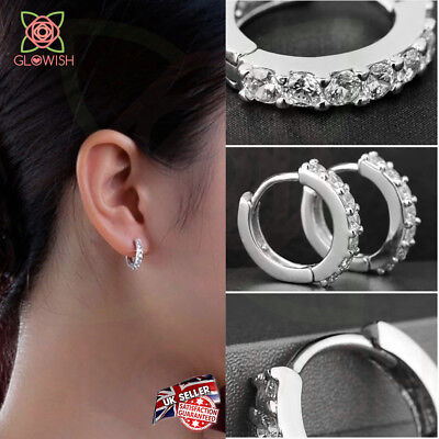 Fashion Women Crystal 925 Sterling Silver Stud Small Round Hoop Earrings Jewelry