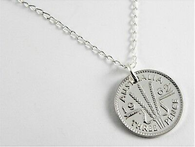 1962 Australian Silver Threepence Coin Necklace - 60cm sterling silver chain