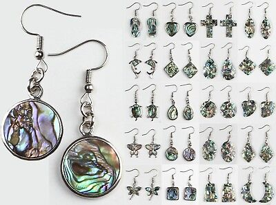 Natural Paua Abalone Shell Dragonfly Butterfly Round Silver Hook Dangle Earrings