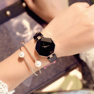 Luxury Women 's Lady Leather Band Analog Quartz Diamond Wrist Watch Watches