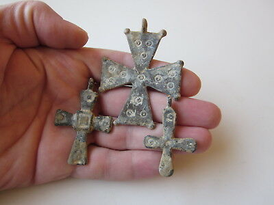 Lot of 3 Roman or Byzantine style lead crosses