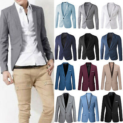 Mens Casual Slim Formal Business Suit Blazer One Button Soild Coat Jacket Tops