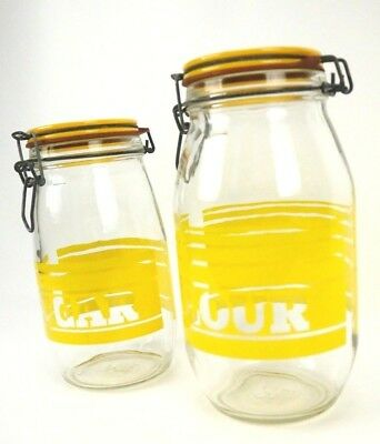 RARE Vtg Glass Flour Sugar Canister Container Kitchen Counter Jar Yellow Stripes