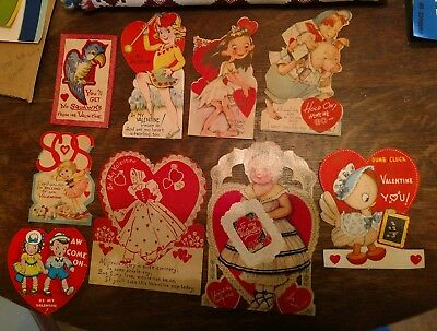 "Lot#3 9 Vintage Valentines 1943-1949 Tallest 7-1/4"".  Animals, kids, Great Art"