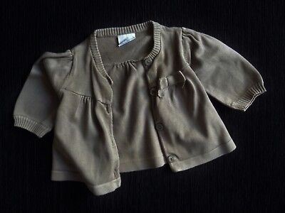 Baby clothes GIRL 3-6m NEXT beige-brown cardigan,bow soft cotton SEE SHOP!