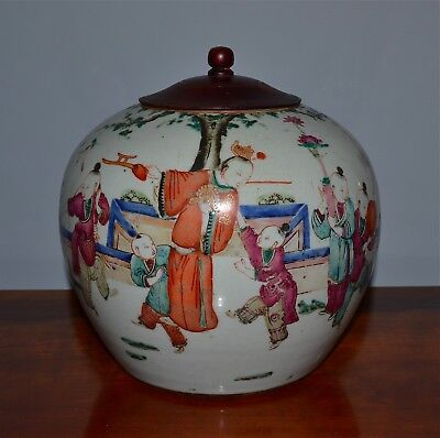 Antique Chinese Famille Rose Porcelain Jar Wood Cover Boys Playing in Landscape