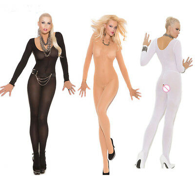 Silk Bodystocking Erotic Sleepwear Women Bodysuits Open Crotch Body Coustumes
