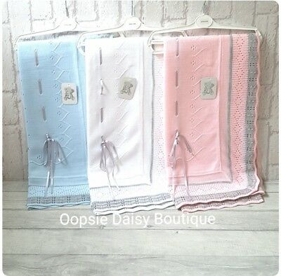 Beautiful Spanish Knitted Slotted Ribbon Blankets Pink White Blue ☆