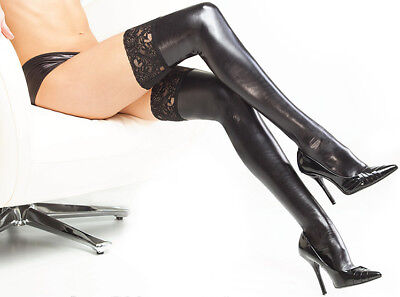 Faux Leather Wet Look Fetish Lace Up Socks Pole Dance Clothes Woman Hose Erotic