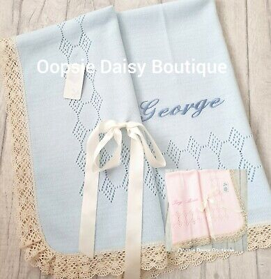 Beautiful Spanish Knitted Ribbon & Lace Blankets Pink Blue ☆
