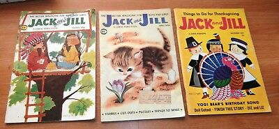 Lot of 3 Vintage Childrens Story Activity Books Jack and Jill 1958 1959 1961